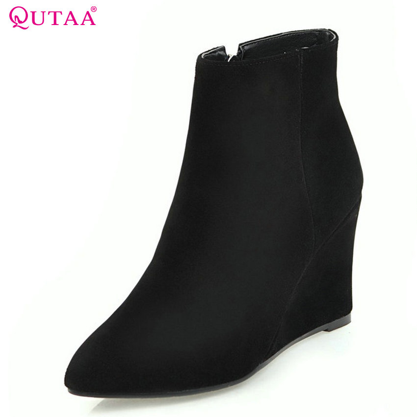QUTAA 2018 Fashion Zipper Wedges Heel Women Ankle Boots All Match Pointed Toe Cow Suede+PU Leather Wome Boots Size 33-43 nemaone 2018 women ankle boots square high heel pointed toe zipper fashion all match spring and autumn ladies boots