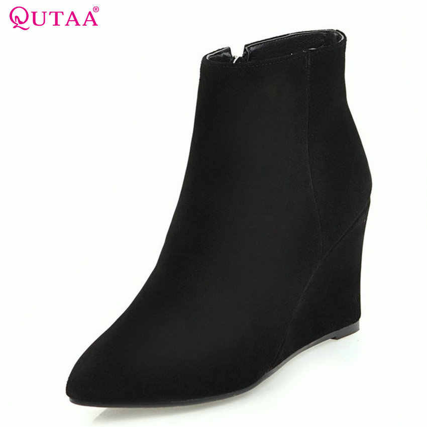 f0f5bcccbedf QUTAA 2018 Fashion Zipper Wedges Heel Women Ankle Boots All Match Pointed  Toe Cow Suede+