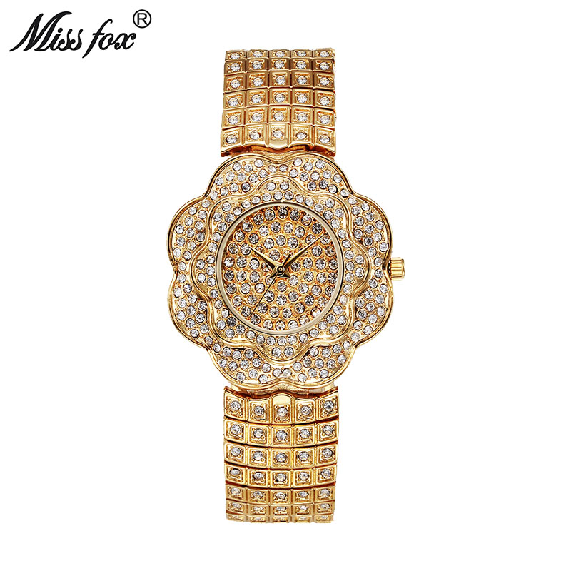 цена на Miss Fox Quartz Rose Watch Women Rose Flower Full Diamond Fashion Clock Ladies Wrist Watches 2017 Waterproof Silver Ladies Watch