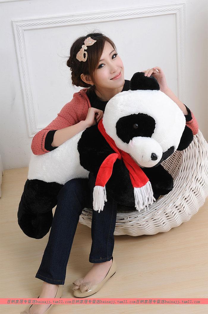 large 60cm lovely scarf panda plush toy lying panda doll gift w6919 large 80 cm panda plush toy lovely lying panda doll throw pillow christmas gift w6834