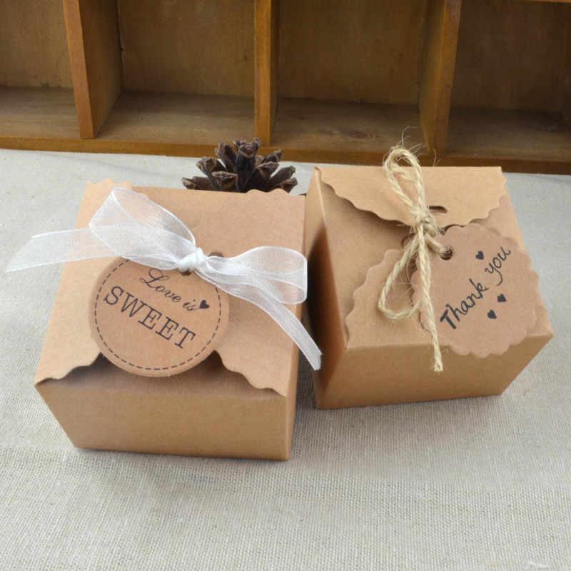 5 Pcs Vintage Retro Mini Kraft Kertas Kotak Pernikahan Hadiah Favor Kotak Pesta Permen Kotak Kemasan dan: