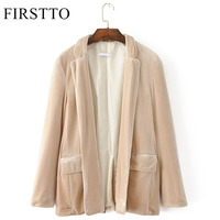 FIRSTTO Stylish Velvet Blazers Jacket Long Sleeve Open Stitch Cardigan Velour Suits Coat Trendy Women Pocket
