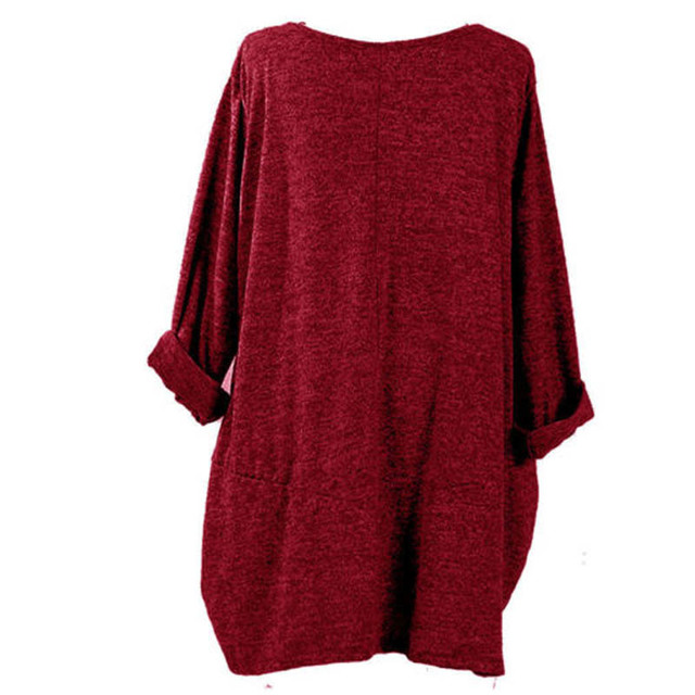 Plus Size ZANZEA Women Autumn O Neck Long Sleeve Brief Shirt Vintage Casual Pullover Baggy Pockets Solid Blouse Loose Top Blusas