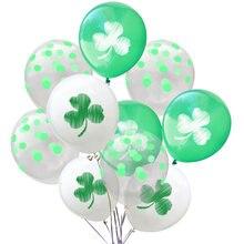 10 pçs clover látex balões decorações de festa de aniversário dia de são patrício verde confetes balões de festa de casamento suprimentos
