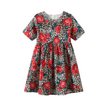 Girls Dresses Spring Summer 2-10T Flower Dress Floral Draped A-Line Dress Girl Short Knee-Length Dresses Regular O-Neck