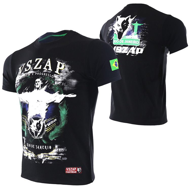 VSZAP Boxing MMA T Shirt Gym Tee Shirt Fighting Martial Arts Fitness Training Muay Thai T Shirt Men Brazil Brazilian Jiu Jitsu
