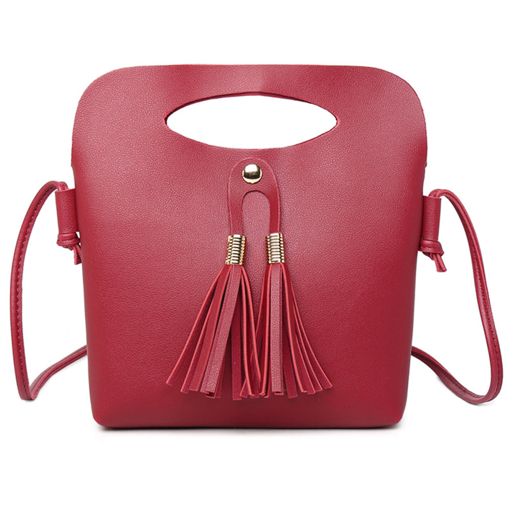 New Arrival Women Female PU Leather Shoulder Bag Simple Fashion Ladies Candy Color Tassel Bucket Tote Mini Handbag Popular