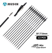 Купить с кэшбэком 6/12pcs  musen 30 Inches Spine 500 Carbon arrow for Compound / Recurve Bow Hunting Archery