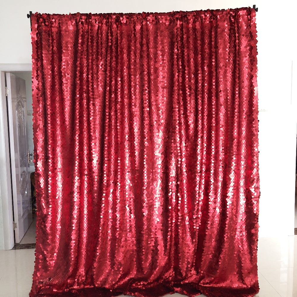 8ft wedding party decoration Curtain Big red sequin backdrop for photo booth