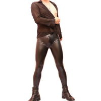 Free shipping Seductive sexy men tight leather trousers fashion bottom pants imitation latex waterproof belt body trousers Black