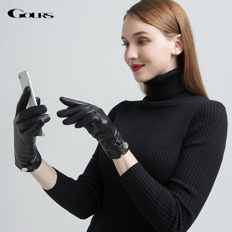 Gours Women's Genuine Leather Gloves Fashion Golden Button Black Sheepskin Touch Screen Gloves Warm In Winter New Arrival GSL073