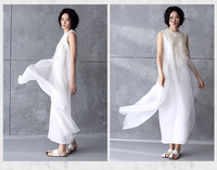 New Christmas Women Vestidos White Dresses Ukraine Girls Real Silk Sleeveless Maxi Dress Evening Long Dress