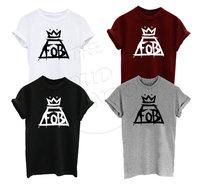 Fall Out Boy FOB Muziek Tour Indie Rock N Roll Crown logo mannen vrouwen unisex clothing top t-stuk meer grootte en Colors-A244