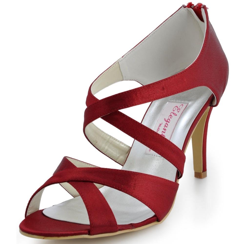 Women Sandal Shoes EP2026 Burgundy Peep Toe Prom Evening