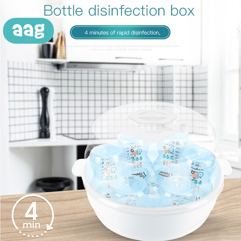 AAG Infant Bottle Safety Microwave Steam Sterilizer Set BPA Free Baby Bottle Sterilizer Nipple Pacifier Disinfection Steam Box *