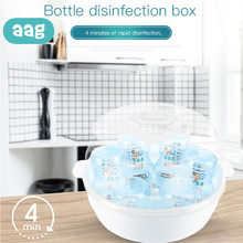 AAG Botol Bayi Safety Microwave Steam Sterilizer Set BPA Free Baby Bottle Sterilizer Puting Dot Desinfeksi Kotak Uap *(China)