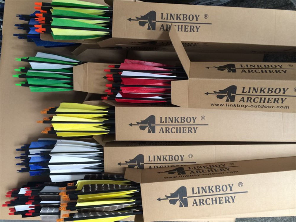 12pcs 32 Spine 340 Carbon Arrows 5 Turkey vanes Nocks 100gr tips Compound Traditional Bow Hunting