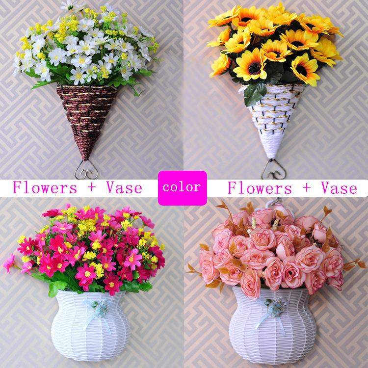 High Quality 13 kinds style rattan vase + flowers meters spring scenery rose artificial flower set home decoration Birthday Gift