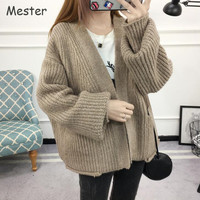 Women Chunky Knitted Cardigan Plus Size Women Clothing Casual Loose Thick Batwing Cardigans Spring Autumn Oversized