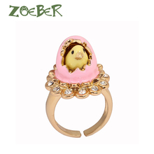 Zoeber 3D Enamel Glaze Cute Chick Hatched Rings for Men Women Fashion Party Gift Unique Design Best Friend Gift Jewelry RJ2116