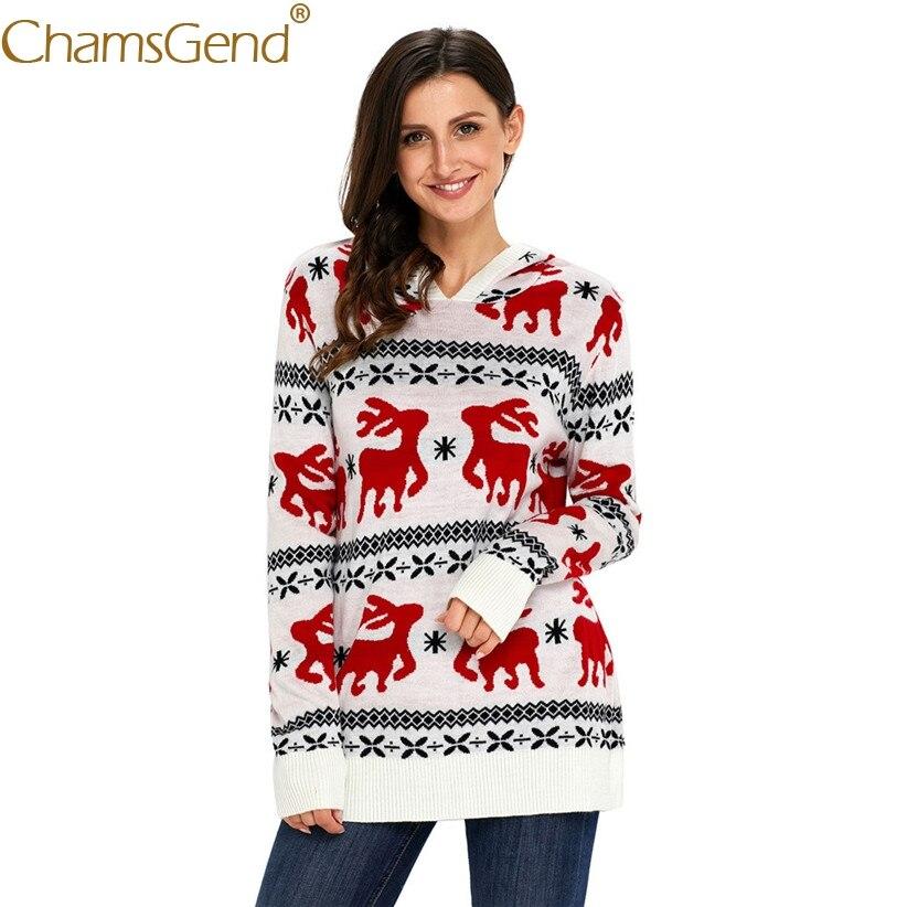 Chamsgend Newly Design Women Fashion Geometric Reindeer Pattern Sweater Long Sleeve Winter Warm Coat 71027