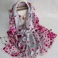 100% de Seda Real Melocotón Flores Impresas Las Mujeres Invierno Bufandas 175x65 cm Tamaño Grande Echarpe Bandana Marca de Lujo Caliente chales Hijab S7