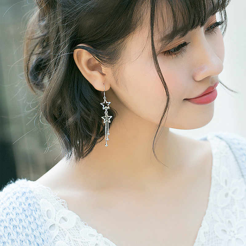 INZATT Nyata 925 Sterling Kotak Perhiasan Perak Menjuntai Drop Earrings Bintang Logam Rantai Rumbai Cahaya Bead Untuk Wanita Elegan Pernikahan