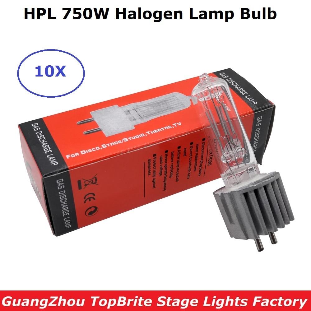 10Pcs HPL 750W Stage Scan Lamp Bulb G9.5 750W Moving Head Light Lamps HPL 750 Watt Professional Scanner Lights Halogen Lamp Bulb-in Stage Lighting Effect from Lights & Lighting