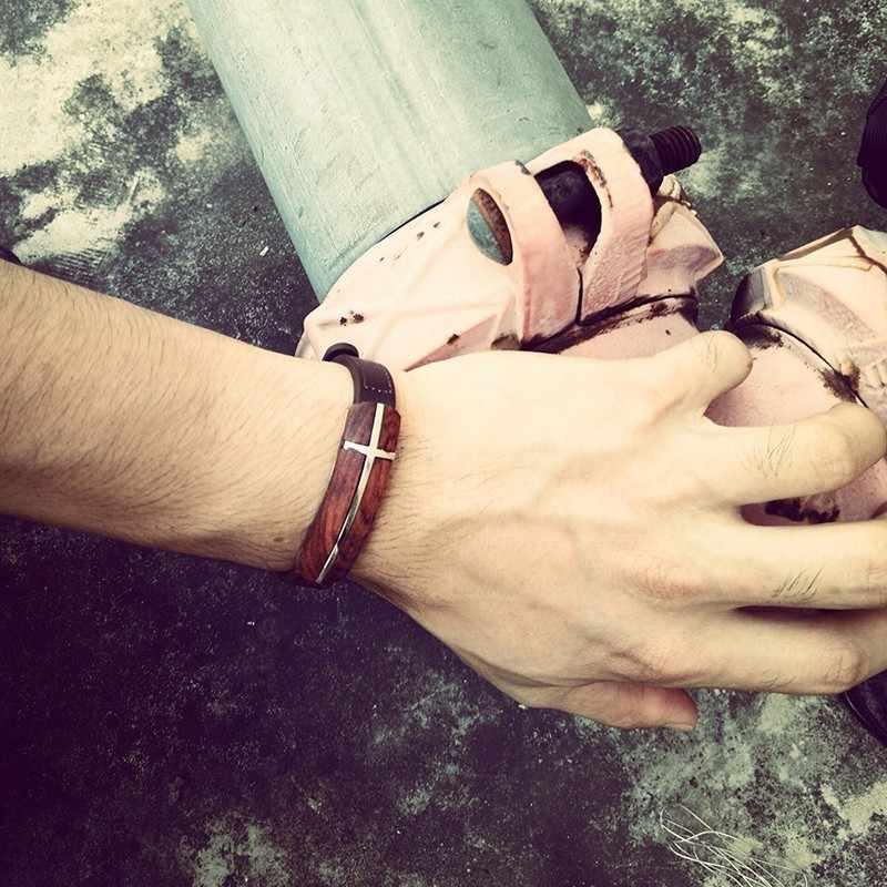 Meaeguet Винтаж палисандр браслет из натуральной кожи для мужчин деревянные уличные украшения мужской браслет регулируемый