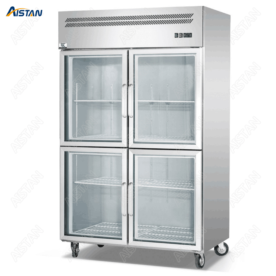 GF Series Luxury Display Showcase 1/2/3/4/6 doors options Kitchen Refrigerator Freezer Stainless Steel Made with Glass Door