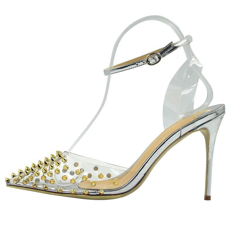 Big Size 34-45 Sexy Transparent PVC Gold Spikes Rivets Women High Heels Sandals ShoesBig Size 34-45 Sexy Transparent PVC Gold Spikes Rivets Women High Heels Sandals Shoes