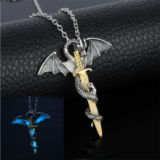 Luminous Game of Throne Dragon Sword Pendant Necklace