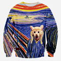 2015 New Fashion Men 3D Animal Print Interesting rural cat Funny Sweatshirts Spring long sleeved clothes hoodies casual wear
