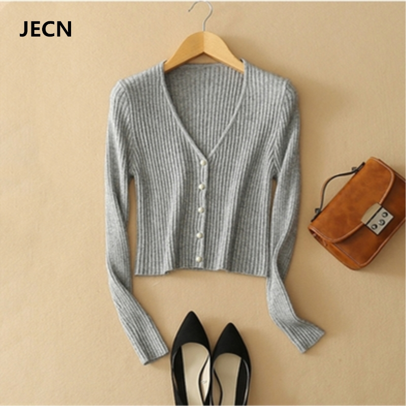 JECH Spring Women Cashmere Short Solid Slim Wool Sweaters Shrug Sexy Full Sleeve V-Neck Cardigan Pearl Buttons Computer Knitted