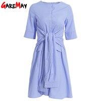 White Blue Striped Shirt Dress Female Short Sleeve O Neck Causal Summer Dresses For Women Vestidos