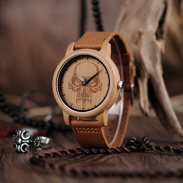 MYSTERIOUS SKULL WOOD LEATHER BAND WATCH II (3 VARIAN)