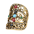 2016 Bohemian Gold Plating Big Ring Unique Women Vintage Accessories Mosaic 7 Colour Resin Best Friend Index Finger Ring Free