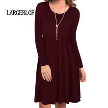 LARGERLOF Dress Woman Loose And Comfortable Dresses Large Sizes Knitting Leisure Knit Long Sleeve DS57128