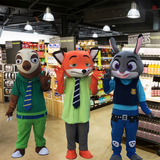 Crazy City Animal Mascot Judy Hopp Rabbits And Nick Fox Mascot Costume for Halloween party event