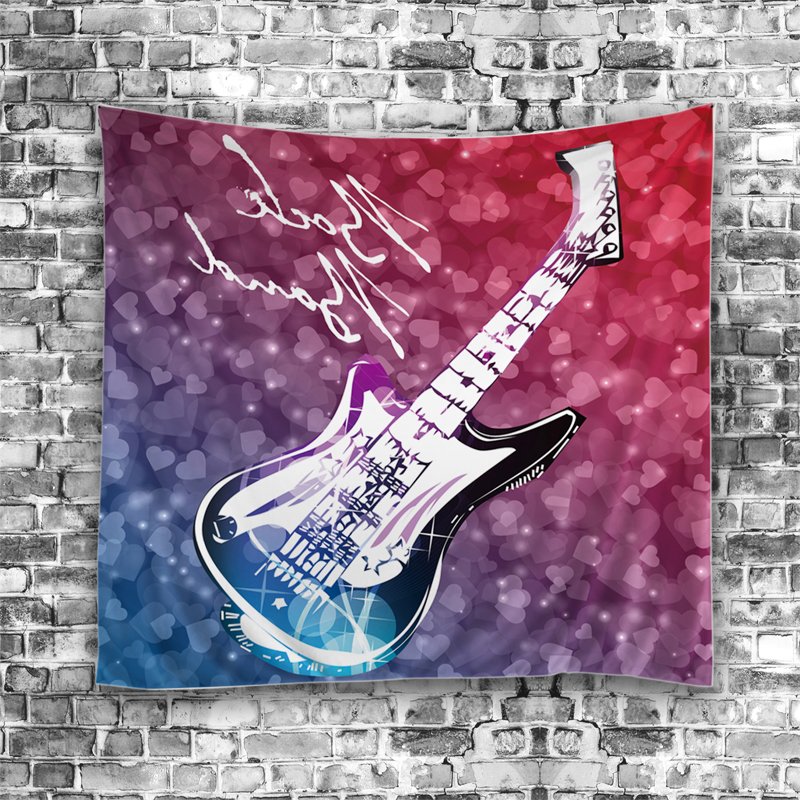 Beach Blanket Tempest Musical: Guitar Music Flamingo Feathers Tapestry Bohemian Indian