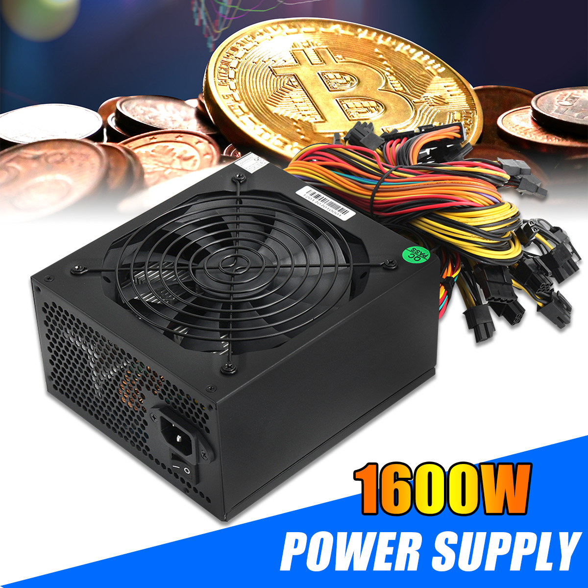Leory 1600W Modular For Miner Mining Case Power Supply 6 GPU for BTC for Eth Rig Ethereum Coin Power Supplies Gold 90 Efficiency 1600w bitcoin atx modular power for eth rig ethereum coin miner mining power supports 6 graphics overclocking 1600w power supply