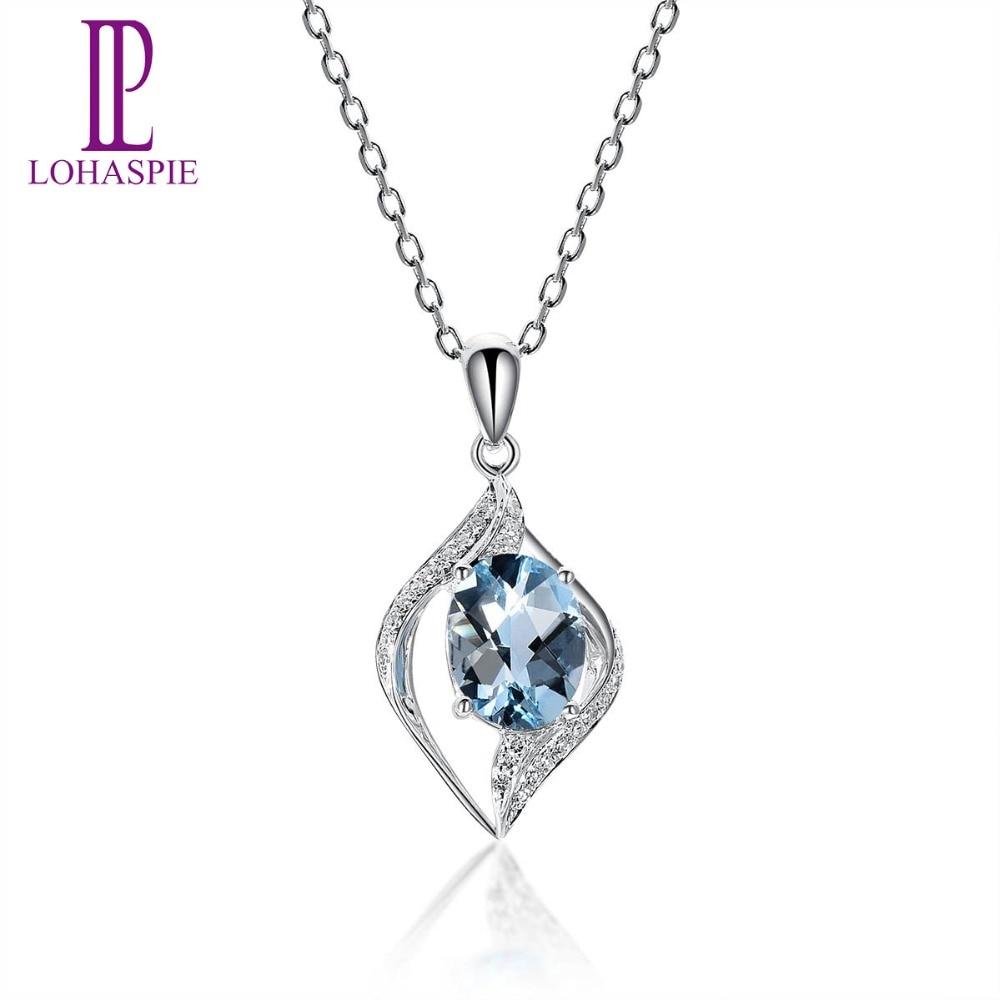 Lohaspie Diamond-Jewelry Solid 14K White Gold Genuine Gemstone Aquamarine Pendant Fine Stone Jewelry For March Birthday Gift New