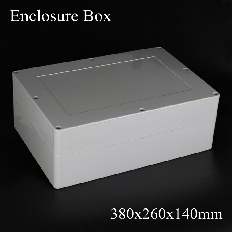 (1 piece/lot) 380x260x140mm Grey ABS Plastic IP65 Waterproof Enclosure PVC Junction Box Electronic Project Instrument Case waterproof abs plastic electronic box white case 6 size