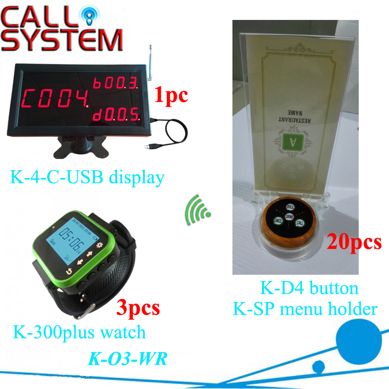 Electornic pager call button system software display with wrist watch, table buzzer and menu holder for restaurant pager system for restaurant including call button and display receiver 1 display 4 c usb and 25 wireless bell p d3