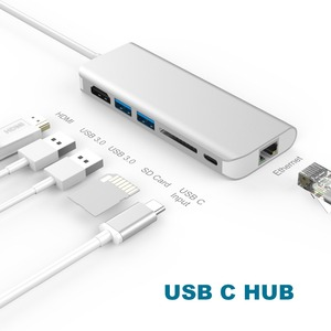 Image 3 - Amkle 6 in 1 USB 3.0 허브 Macbook Pro 용 HDMI/USB 3.1/RJ45/SD/TF/Type C 어댑터 변환기에 USB 3.0 유형 C Google Chromebook