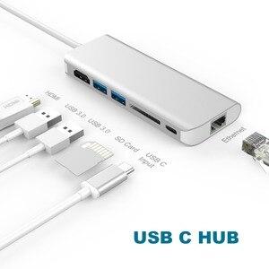 Image 3 - Amkle 6 w 1 USB 3.0 HUB USB 3.1 typ C na HDMI/USB 3.0/RJ45/SD/TF/typ C konwerter adaptera dla Macbook Pro Google Chromebook