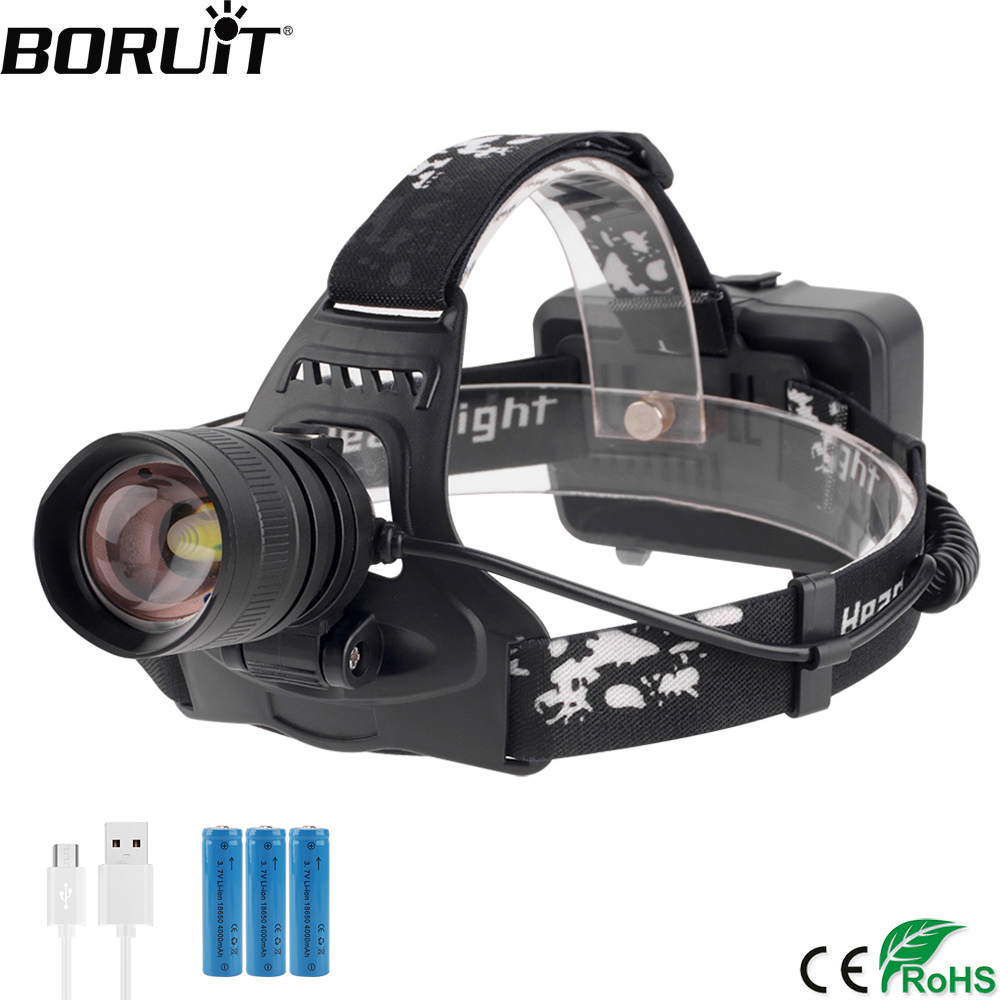 BORUiT 2806 XPH50 LED Headlamp Zoom 3-Mode Headlight USB Rechargeable Power Bank Head Torch Hunting Flashlight 18650 Battery