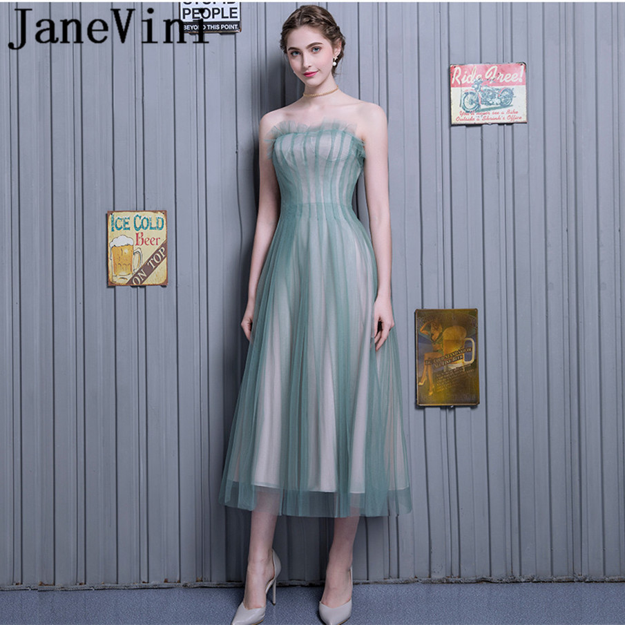 JaneVini 2018 Simple A-Line Long   Bridesmaid     Dresses   Strapless Lace-up Back Prom Party Gowns Ankle Length Bruiloft Jurk Dames