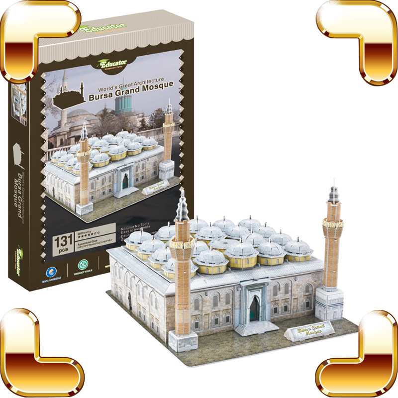 New Arrival Gift Bursa Grand Mosque 3D Puzzles Model Building DIY Decoration  Believer Collection Simulation Puzzle Toy Present led 3d puzzle toys l503h empire state building models cubicfun diy puzzle 3d toy models handmade paper puzzles for children