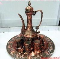 Statue decoration factory outlets Russian high quality thick copper jug Wine Kit oversized silver tray with Black Pearl